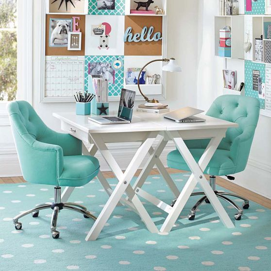 Love the bright colours and tufted chairs