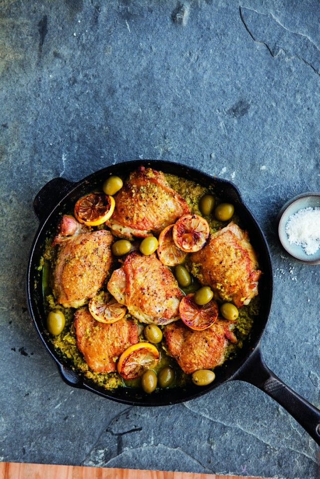 This chicken dish with lemons and olives is a classic.