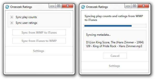 Orzeszek Ratings 1.2 Orzeszek Ratings is a utility to sync ratings and play counts between Windows Media Player and iTunes.  If you use both Windows Media Player and iTunes to manage your music collection on one computer, Orzeszek Ratings allows you to sync the ratings and play counts between the two applications. #computers #software #freeware #opensource