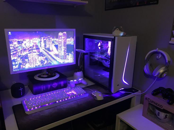 My little corner Best Gaming Setup, Gamer Setup, Gaming Room Setup, Pc Setup, Desk Setup, Computer Gaming Room, Computer Setup, Bedroom Setup, Room Ideas Bedroom
