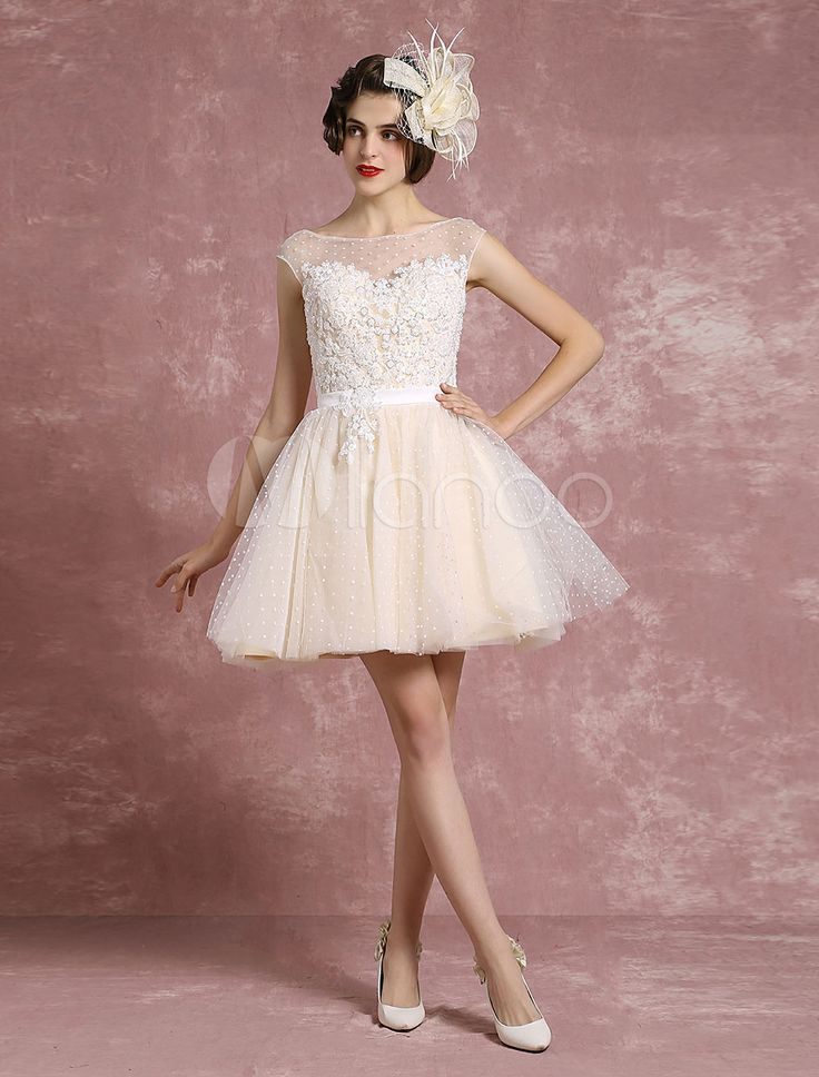 Vintage Wedding Dress Illusion Sweetheart Short Bridal Dress Tulle Polka Dot Beading A Line Sleeveless Mini Bridal Gown
