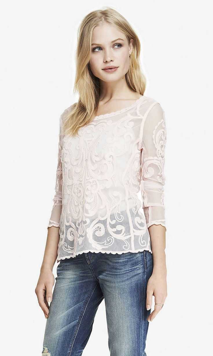 BAROQUE LACE TEE | Express Wild Eggplant Large