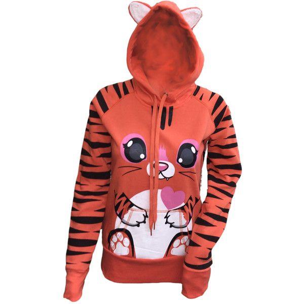 Women's Animal Graphic Zip-Up Hooded Sweatshirt with Ears (£16) ❤ liked on Polyvore featuring tops, hoodies, orange, zip up top, animal print hoodie, hooded top, red zip up hoodies and hooded pullover