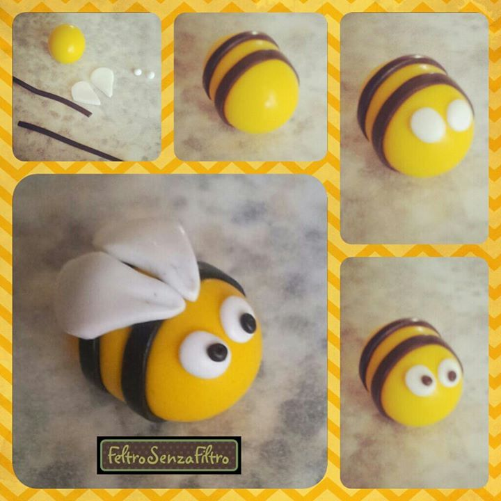 Tutorial: Bee (Polymer Clay - Fimo - Cernit) https://www.facebook.com/MondoDiSisina https://www.etsy.com/it/shop/MondoSisina