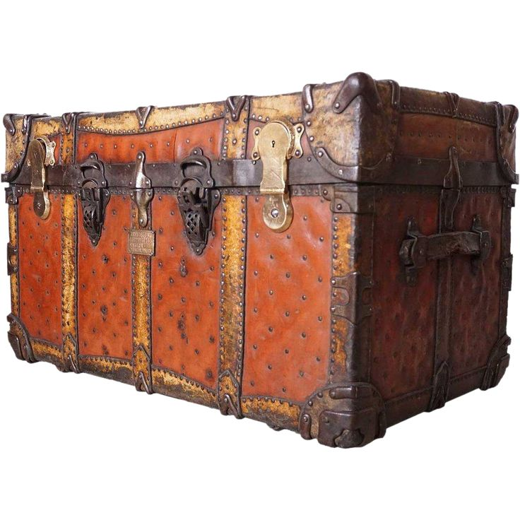 American Josiah Cummings & Son Leather Steamer Trunk