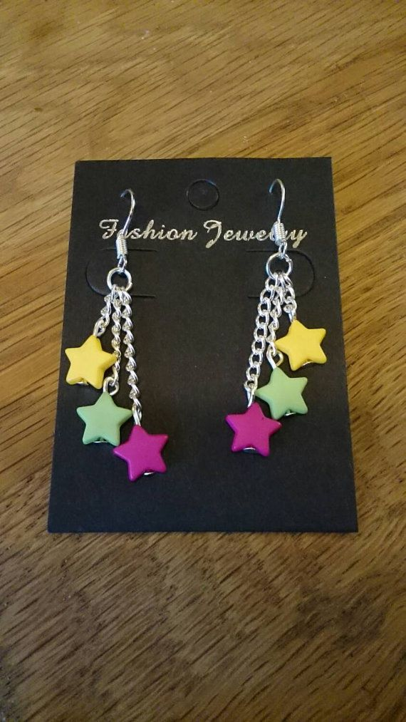 Buy at: https://www.etsy.com/uk/shop/KinleysDesigns  #earrings #star #pink #yellow #green #chain #girly #accessories #creative #homemade