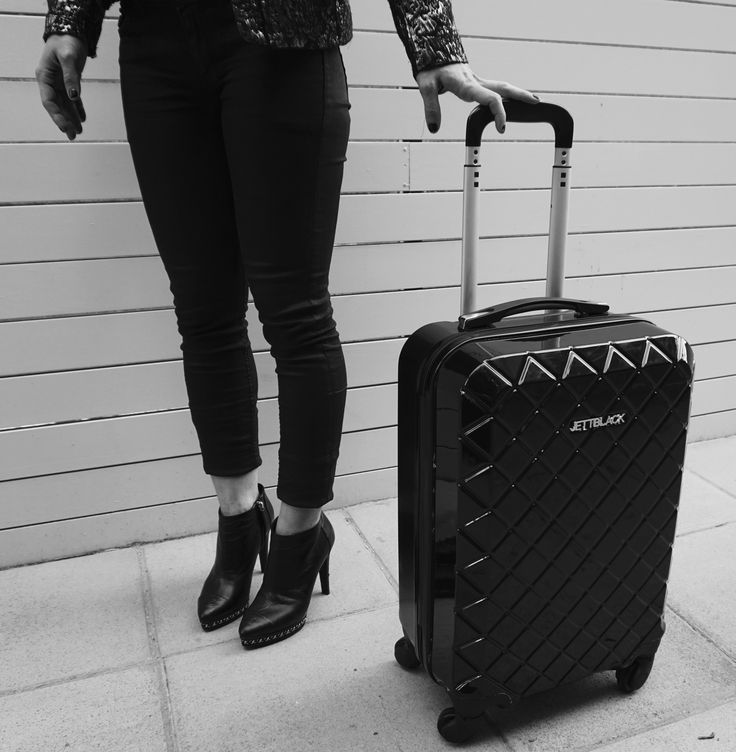 Check Black Carry On Suitcase by JETT BLACK. #BlackandWhite #AirportLife #Jetsetter