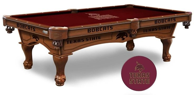 The Texas State Bobcats Pool Table is available in an 8-ft length. Wood cabinet has CNC and laser cut logos. Available in 2 finishes. Free installation.   Visit SportsFansPlus.com for Details.