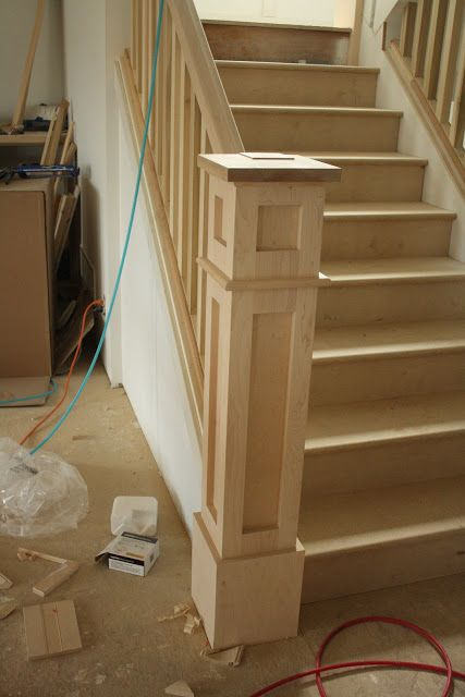 Newel Post - but use with simple metal picket and stain ebony or similar to match floors