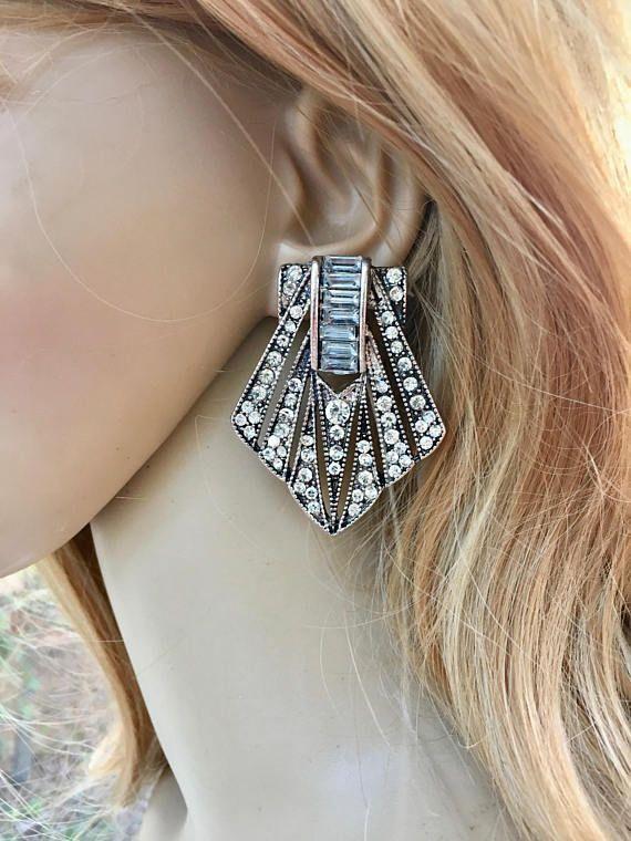 Great Gatsby Earrings Art Deco Fler 1920s 60