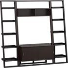 "Sloane Espresso Leaning Media stand with two 18"" bookcases"
