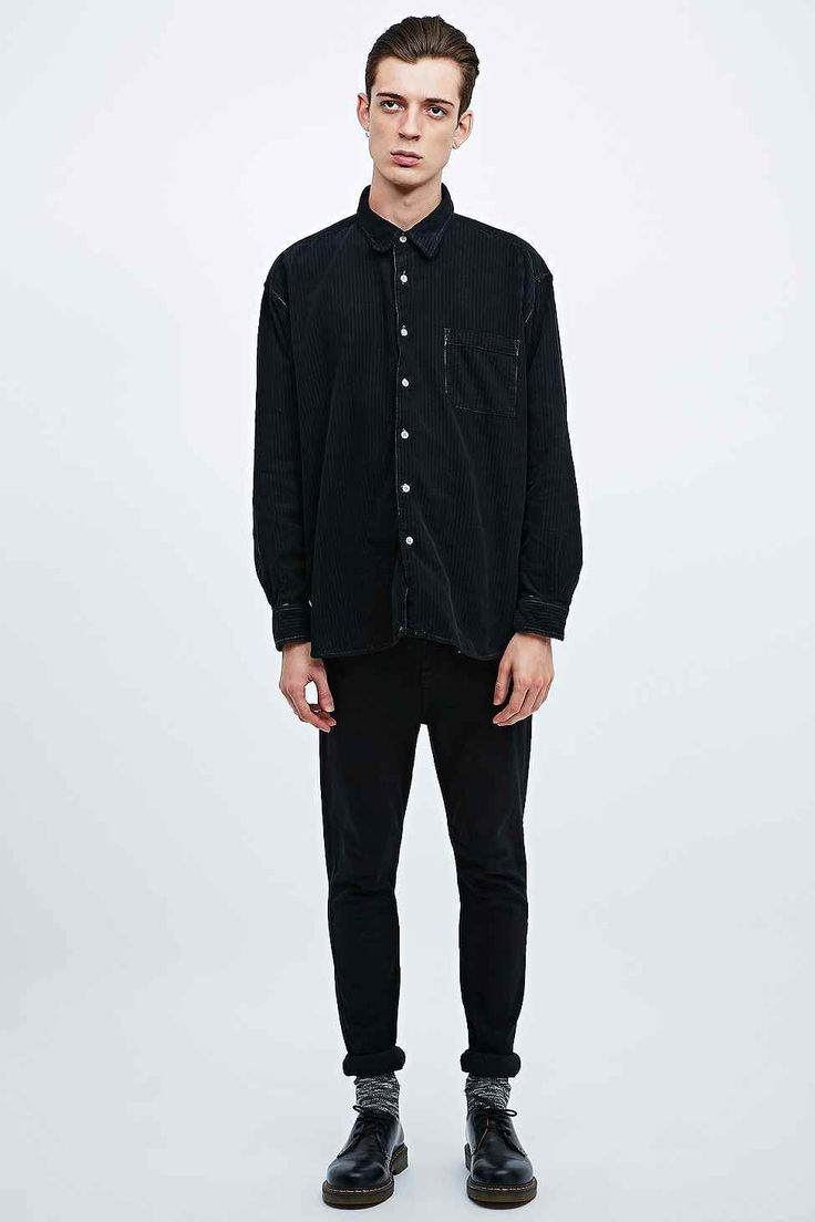 Urban Renewal Vintage Customised Cord Shirt in Black