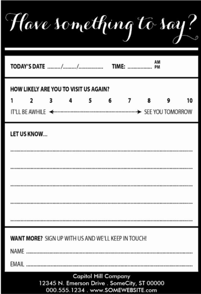 Restaurant Comment Card Template Unique 25 Examples Customer Ment Card Template For Restaurant Card Templates Free Free Printable Card Templates Card Template
