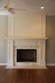 white trimmed rectangular fireplace - Google Search