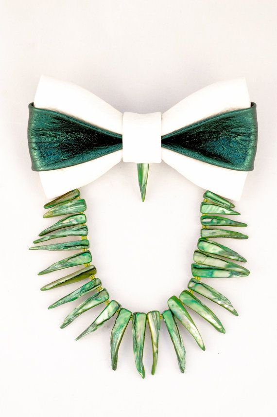 Quirky design white and emerald green bow tie with green by LimeG