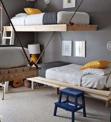 "Love these ""bunk"" beds! Way cool! Maybe for the loft area!"