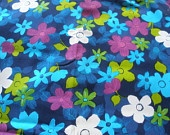 """Vintage 60s 1960s Flower Power Neon Psychedelic MOD Fabric Cotton Blend Sewing Pattern 44"""" wide 3 Yards less 4 inches"""