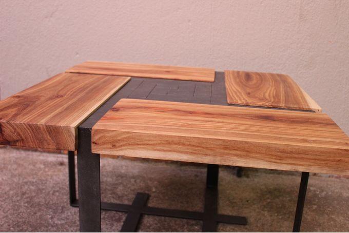 Solid Kiaat parquet coffee table by JVS Designs