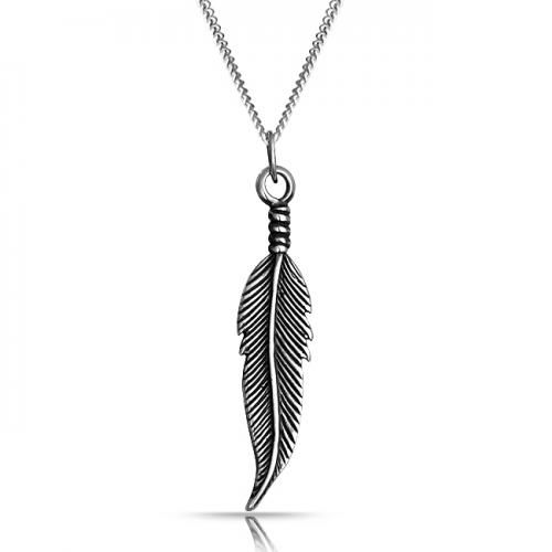Bling Jewelry Antiqued Silver Feather Pendant Necklace 18in