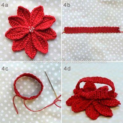 Crochê Gráfico: Flores de natal em crochê