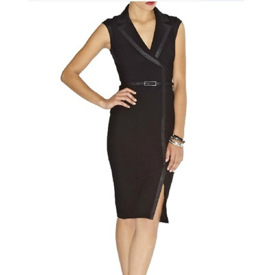 Karen Millen Contrast Trim Pencil Dress Black