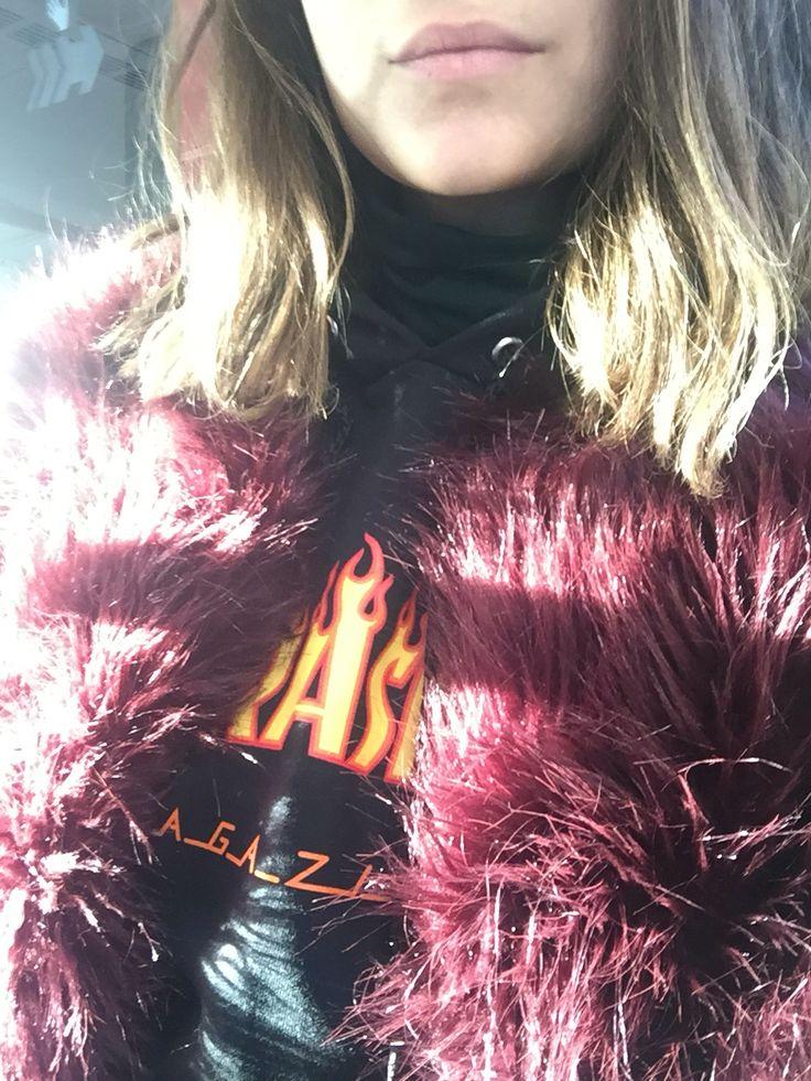 Thrasher flames faux fur