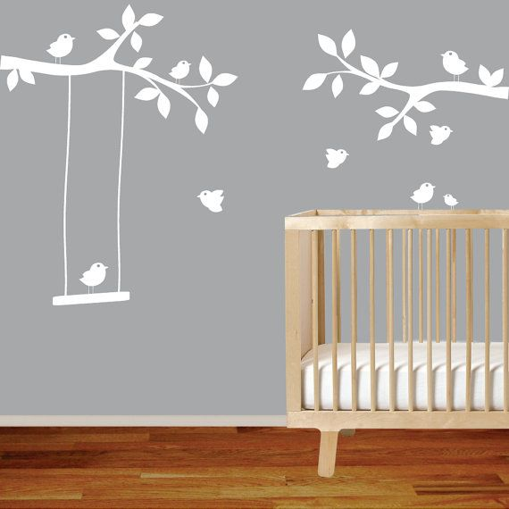 Nursery wall decal branch with birds,swing,white wall decal sticker