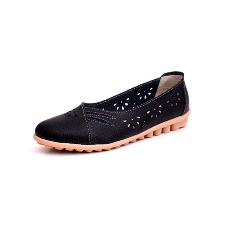 Price tracker and history of Women Mother Shoes Moccasins Fashion Summer  Genuine Leather Women's Soft Leisure Flats Female Driving Shoe Flat Black  Loafers