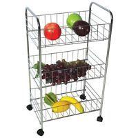 Attractive 3/ 4 Tier Kitchen Trolley On Wheel Cart Vegetable Rack Fruit Basket Corner  Shelf