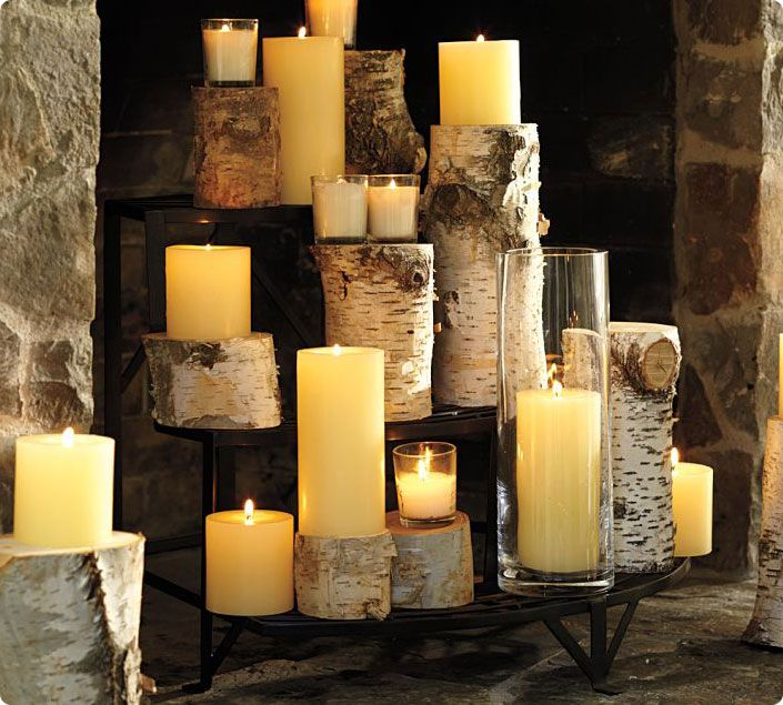 Candles and wood
