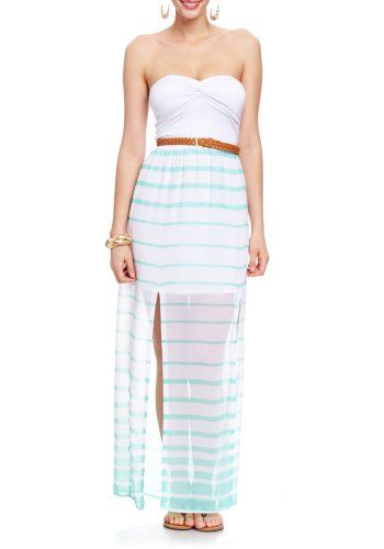 Totally obsessed. Strapless maxi dress featuring a knotted bust, leatherette belted waist, and partially lined Reef Stripe skirt with daring side ...