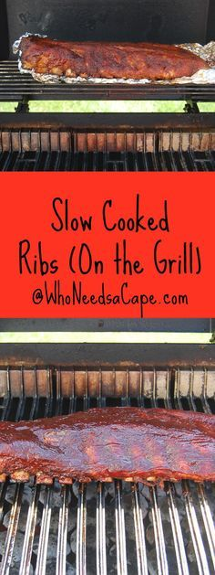 Slow Cooked On the Grill Ribs -1 rack of ribs grill rub barbeque sauce of your choice 1/2 C apple juice