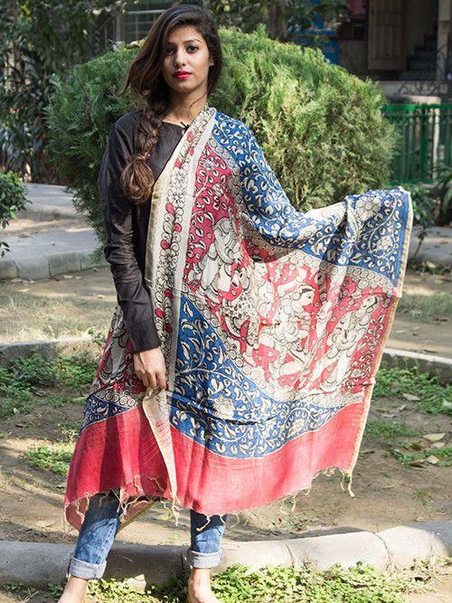 Blue Red Chanderi Kalamkari Dupatta