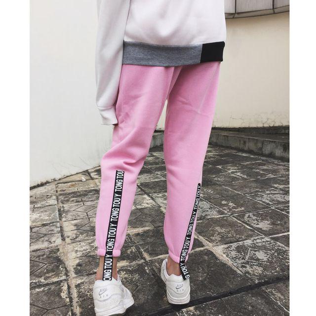 Crayon sarouel 2015 automne hiver corée Ulzzang Vintage femmes Casual velours lâche Sport pantalon de Jogging rose Pantalones