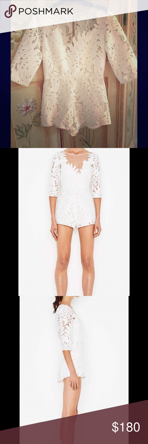 Alice McCall Rumours Playsuit - White Unique cut graphic lace featuring a contemporary palm print design and sheer pleated gauze. Alice McCall Pants Jumpsuits & Rompers