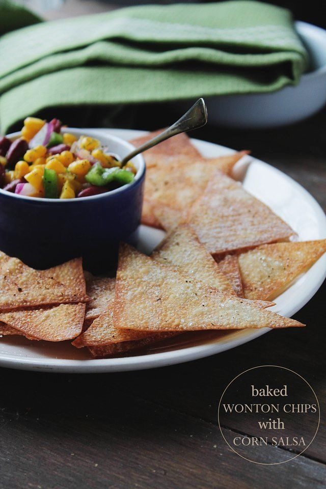 Baked Wonton Chips with Corn Salsa @Kate Petrovska | Diethood