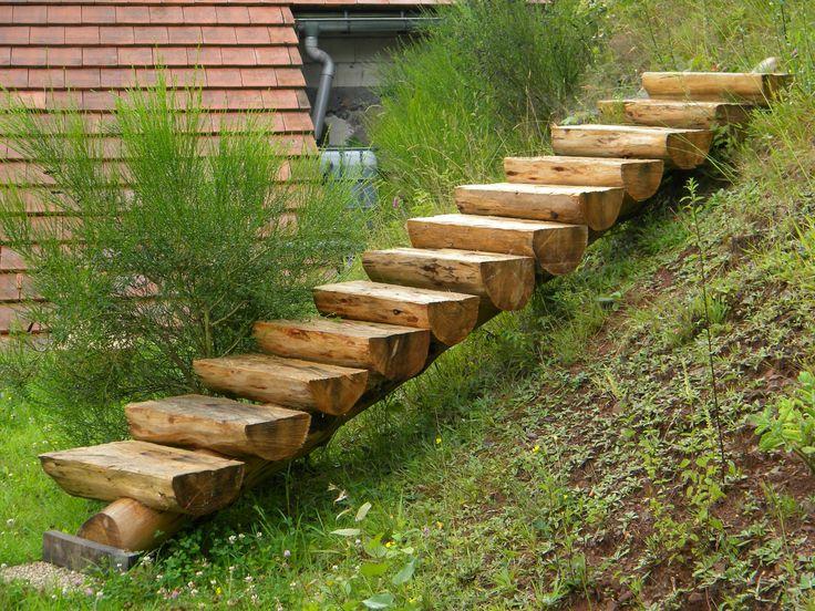Des idées d'escalier en bois pour le jardin