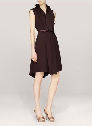 Hanii Y - Ruffled-neckline sleeveless dress | Neutral and Brown Work Dresses