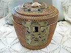 Antique Victorian Edwardian Chinese Asian Wicker Tea Basket Strorge Sewing Shell