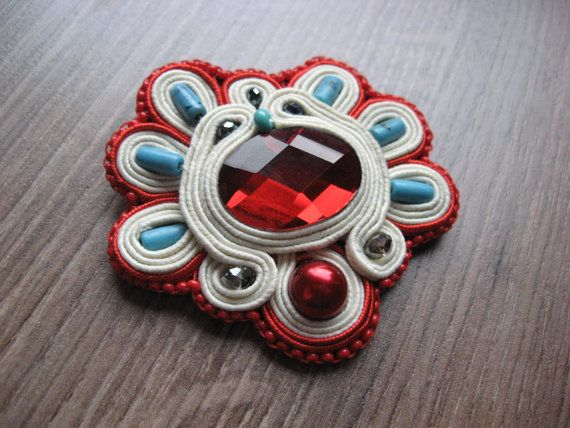 Soutache brooch in Red by StasyBoutique on Etsy, $35.00