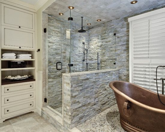 Amazing Different Textures for Walls In Home Designs: Glass Shower In Wonderful Transitional Bathroom Ideas With Copper Bathtub And Different Textures For Walls Also Stacked Stone Shower ~ jangrue.com Architecture Inspiration