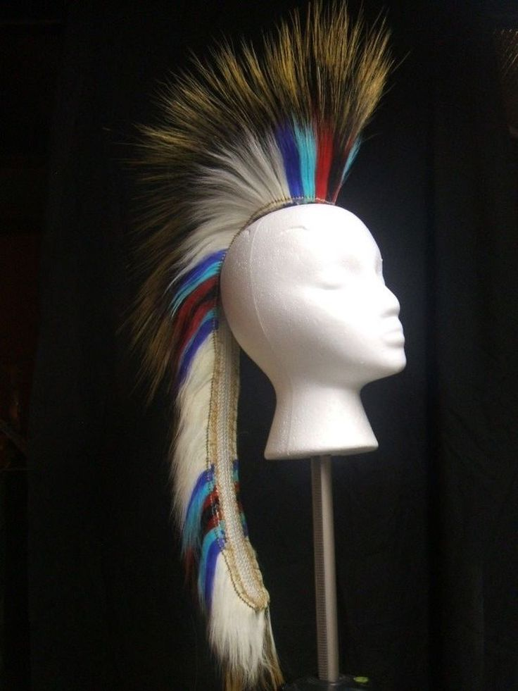 Native American Porcupine Hair Roach Powwow Regalia 20