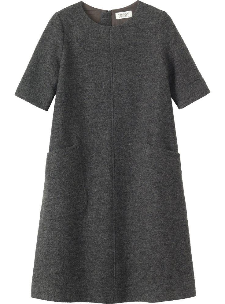 Women's Grey Marl Wool Dora Dress | TOAST