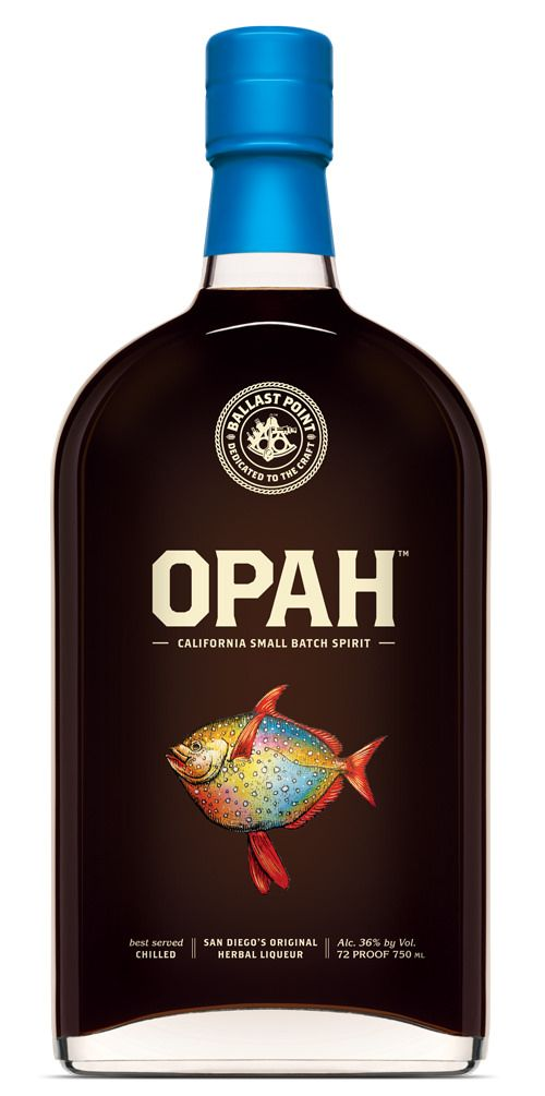 Ballast Point introduces Opah Herbal Liqueur - bottle decoration by Universal Packaging @thinkuniversal