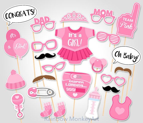 Lovely Baby Shower Photo Props   Itu0027s A Girl Baby Photo Booth Props   Printable  Photobooth Props   Team Pink Baby Girl Printable Party Props
