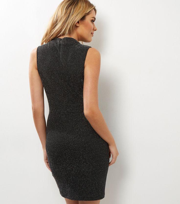 Black Choker Neck Sheer Panel Metallic Bodycon Dress | New Look