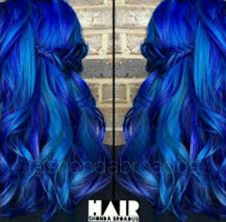 Shades of blue highlights and lowlights create an all-over vivid blue hair color with dimension & depth  gorgeous rainbow hair dye