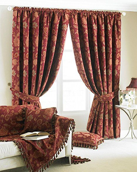 RED GOLD TAPESTRY CHENILLE FLORAL 90 X