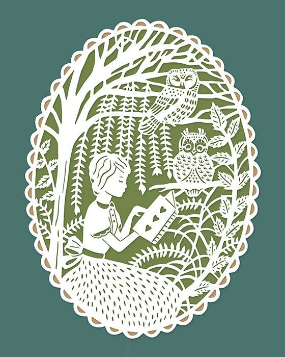 Print of Original Papercut Illustration - Reading in the Trees with Owls via SarahTrumbauer on Etsy.