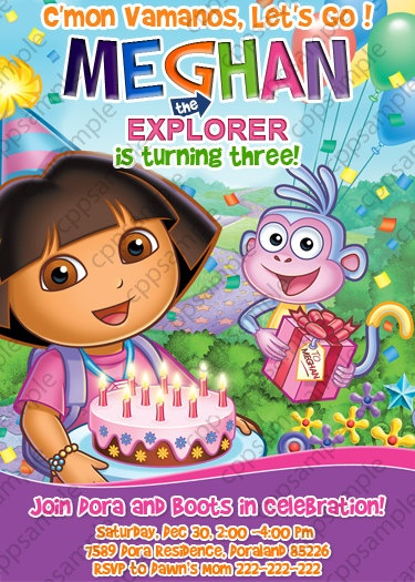 53 best alana the explorer's 3rd birthday party! images on, Birthday invitations